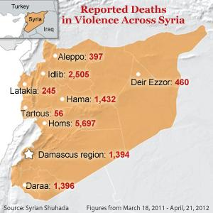 Syrian Death Toll Climbs; Ships with Weapons Intercepted